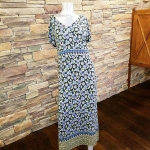 J. Jill Black Green Floral Maxi Dress Medium